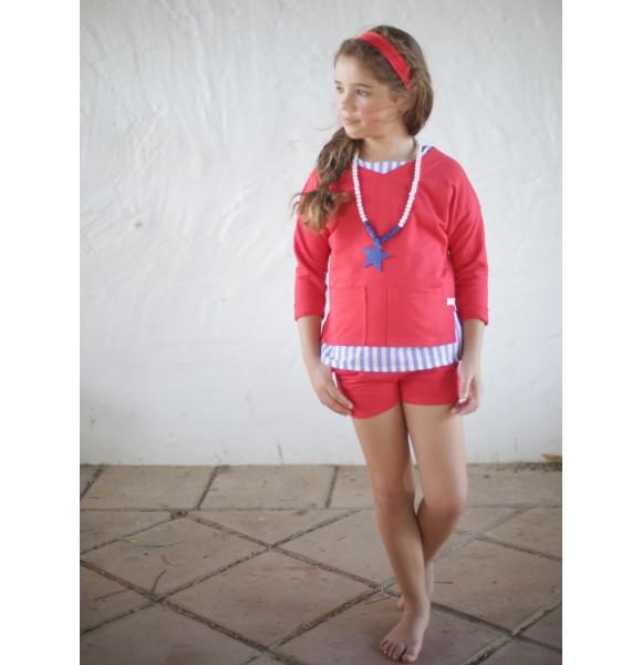 Conjunto niña rojo con camisa rayas de Pilar Batanero