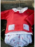 Conjunto bebé niño plumas rojas de Pilar Batanero