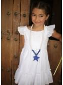 Vestido niña blanco perforado de Pilar Batanero