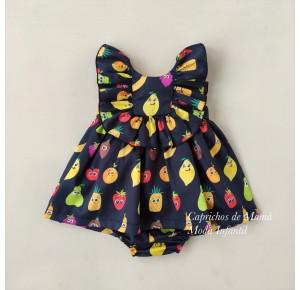 Jesusito niña negro estampado frutas de Mon Petit