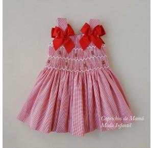 Vestido niña punto smock vichy rojo de Nini