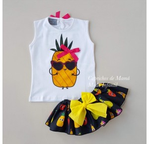 Conjunto camiseta piña y braguita fruta de Mon Petit