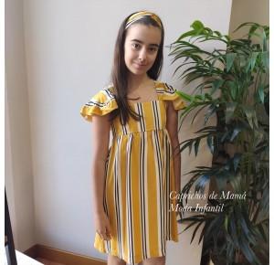 Vestido niña mostaza a rayas de Eve Children