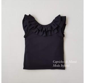Camiseta niña negra volantes de Baby Yiro