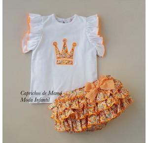Conjunto niña Filippa de Eva Castro liberty naranja