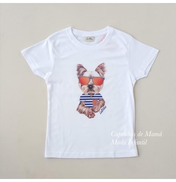 Camiseta niño Lavanda de Lolittos yorkie
