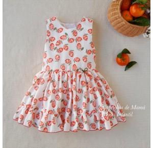 Vestido niña Clementina de Lolittos mandarinas