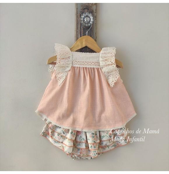 Conjunto bebé niña de Valentina Bebés blusa vichy