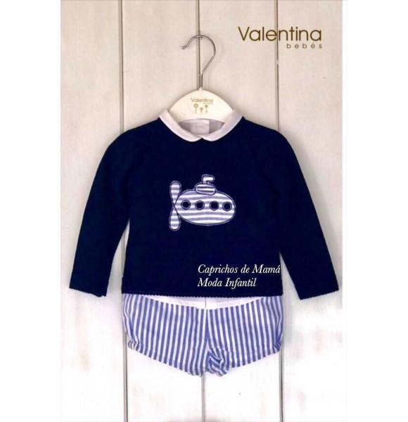Conjunto bebé niño de Valentina Bebés rayas navy