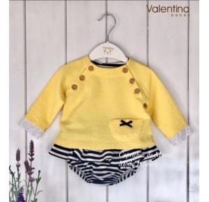 Conjunto bebé niña de Valentina Bebés amarillo y navy