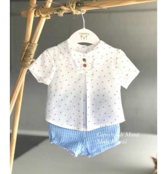 Conjunto bebé niño de Valentina Bebés camisa topitos