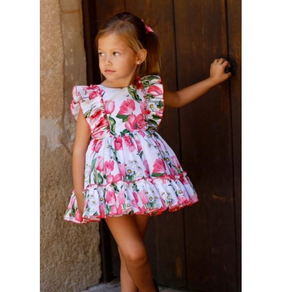 Vestido niña de Lapeppa flores fucsia