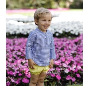 Conjunto niño camisa y bombacho amarillo de Lapeppa