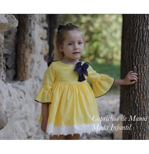 Vestido niña amarillo Pin y Pon de Lapeppa con mangas