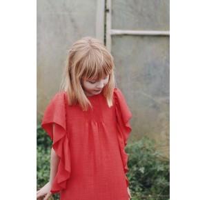 Vestido niña rojo volantes de Mia y Lia