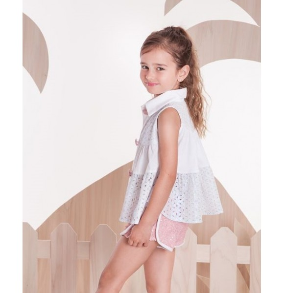 Blusa niña blanca perforada Arco Iris de Kauli