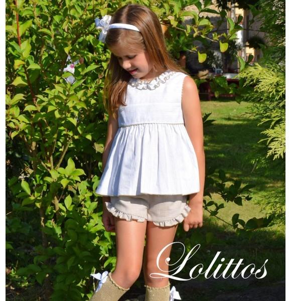 Conjunto niña blusón y short Oro de Lolittos