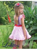 Vestido niña Bike de Lolittos rayas rojas y blancas