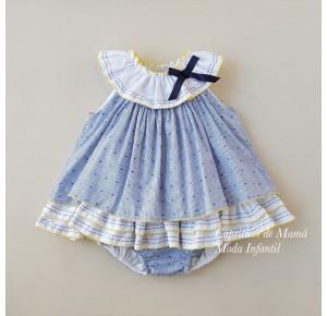 Jesusito niña Pin y Pon de La Martinica rayas azul