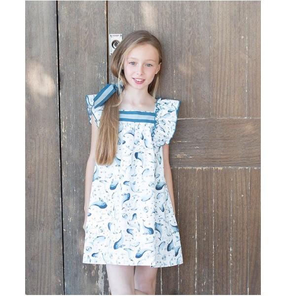 Vestido niña ballenas de Eve Children azul y blanco
