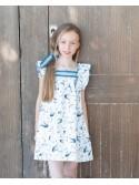 Vestido niña azul y blanco Dolphin de Eve Children