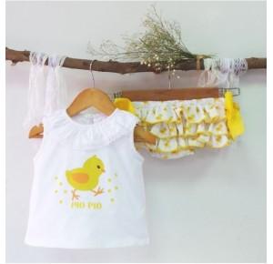 Conjunto bebé niña braguita Pollitos de Pio Pio