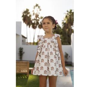 Vestido niña Monitos de Mon Petit