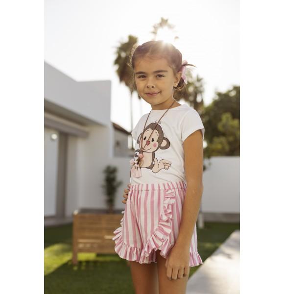 Conjunto niña camiseta y short Monitos de Mon Petit