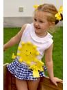 Conjunto niña camiseta sol y braga vichy de Mon Petit