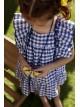 Vestido niña cuadro vichy azulón de Mon Petit