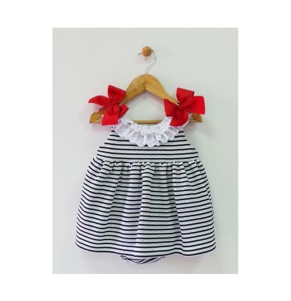Jesusito bebé niña punto rayas marino de Mon Petit