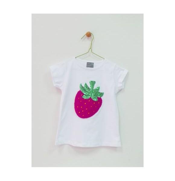 Conjunto niña camiseta y falda Fresas de Mon Petit